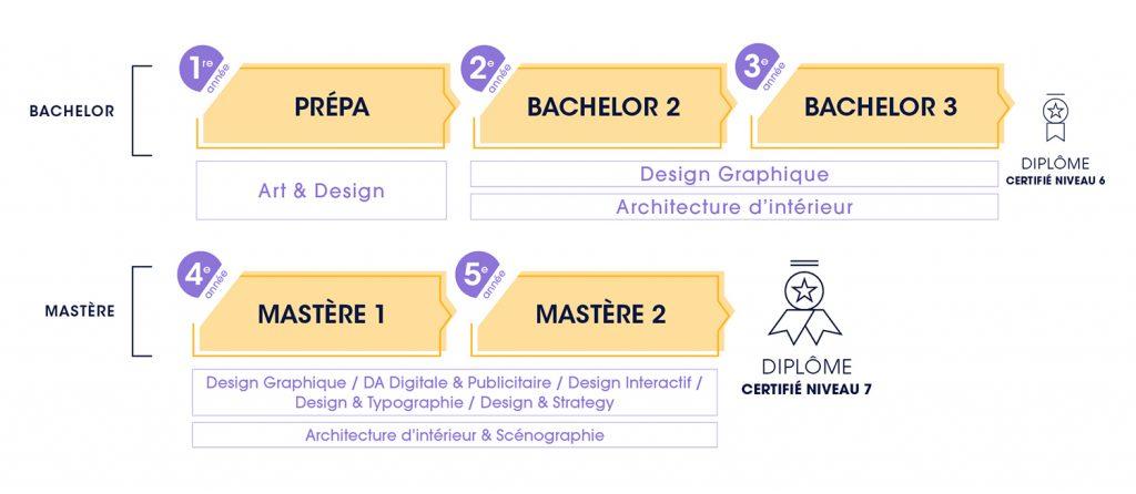 Schéma cursus Design - ECV